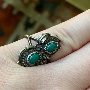 💠Vintage Native American turquoise malachite ring